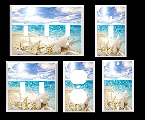WHITE SEA SHELL STARFISH ON THE BEACH OCEAN LIGHT SWITCH COVER PLATE (2x - Outlets Ocean