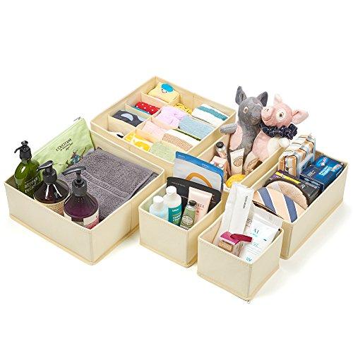 Set of 6 Drawer Organizer, EZOWare Closet / Dresser / Nursery Storage Drawer Container Bins Basket for Bras, Socks, Underwear, Tie, Scarves, Gloves, School Supplies, Diapers, and more - Beige