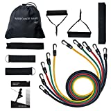 Cheap Resistance Band Set, TopElek Exercise Band Kit with 5 Workout Bands, Door Anchor, Ankle Straps, Carrying Pouch, Guide Book for Resistance Training, Physical Therapy and Workouts