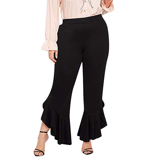 Amazon.com: Pongfunsy Women\'s Plus Size Pants Waisted Flare ...
