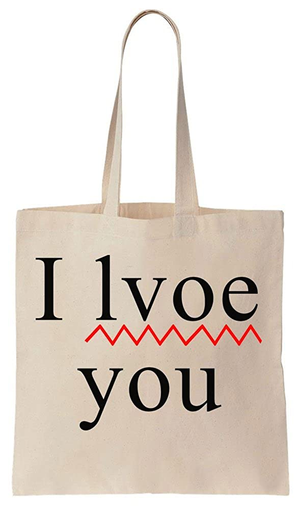 I Lvoe You Love With A Mistake Cotton Canvas Tote Bag