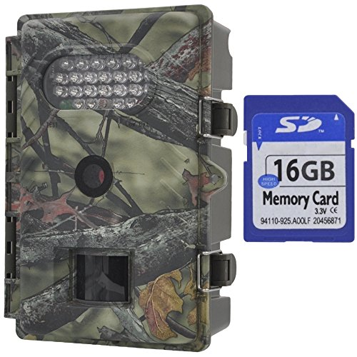 Xikezan Waterproof Trail Camera Low Glow Game Cameras 8Mp 720P Hd Infrared Night Vision Wildlife Hunting Cam  R20 16G Sdhc Card