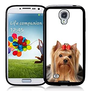Cool Painting Yorkshire Terrier Yorkie Dog with Red Bow - Protective Designer BLACK Case - Fits Samsung Galaxy S4 i9500