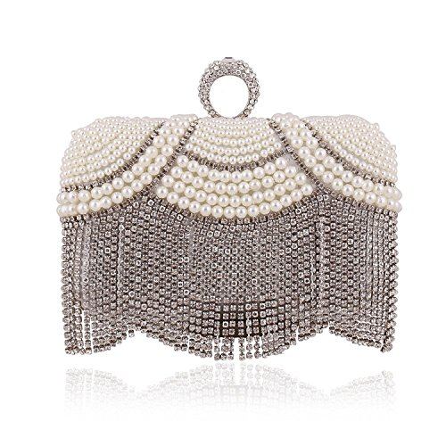 Evening Ms Bag Diamond Handmade Chain Bag Silver Clutch Pearl Bag New Dress qqFTpRH