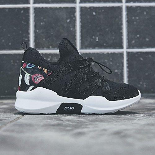 NGRDX&G Calzado Deportivo Mujer Calzado De Correr Grueso Black