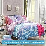 TTMALL CPM Twin Full Size Duvet Cover Bed Set, Cotton & Microfiber Rainbow Cloud, 4-Pieces