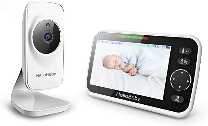 """Amazon.com : Video Baby Monitor with Camera and Audio, 5"""" Color LCD Screen, HelloBaby Monitor Camera, Infrared Night Vision, Temperature Display, Lullaby, Two Way Audio and VOX Mode, HB50 : Electronics"""