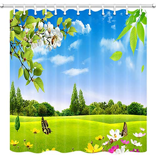 Natural Decor Shower Curtains, Butterfly Wildflowers and Green Grassland Under Blue Sky Bath Curtain, Polyester Fabric Bathroom Curtain with 12 Hooks, 69X70 Inches