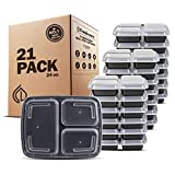 Freshware Meal Prep Containers [21 Pack] 3 Compartment with Lids, Food Storage Bento Box | BPA Free | Stackable | Lunch Boxes, Microwave/Dishwasher/Freezer Safe, Portion Control, 21 day fix (24 oz): more info