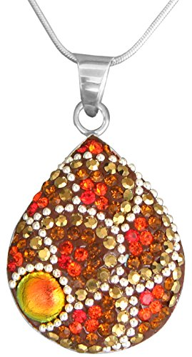Mosaico Sterling Silver Dichroic Glass and Preciosa Czech Crystals Teardrop Pendant Necklace, 17