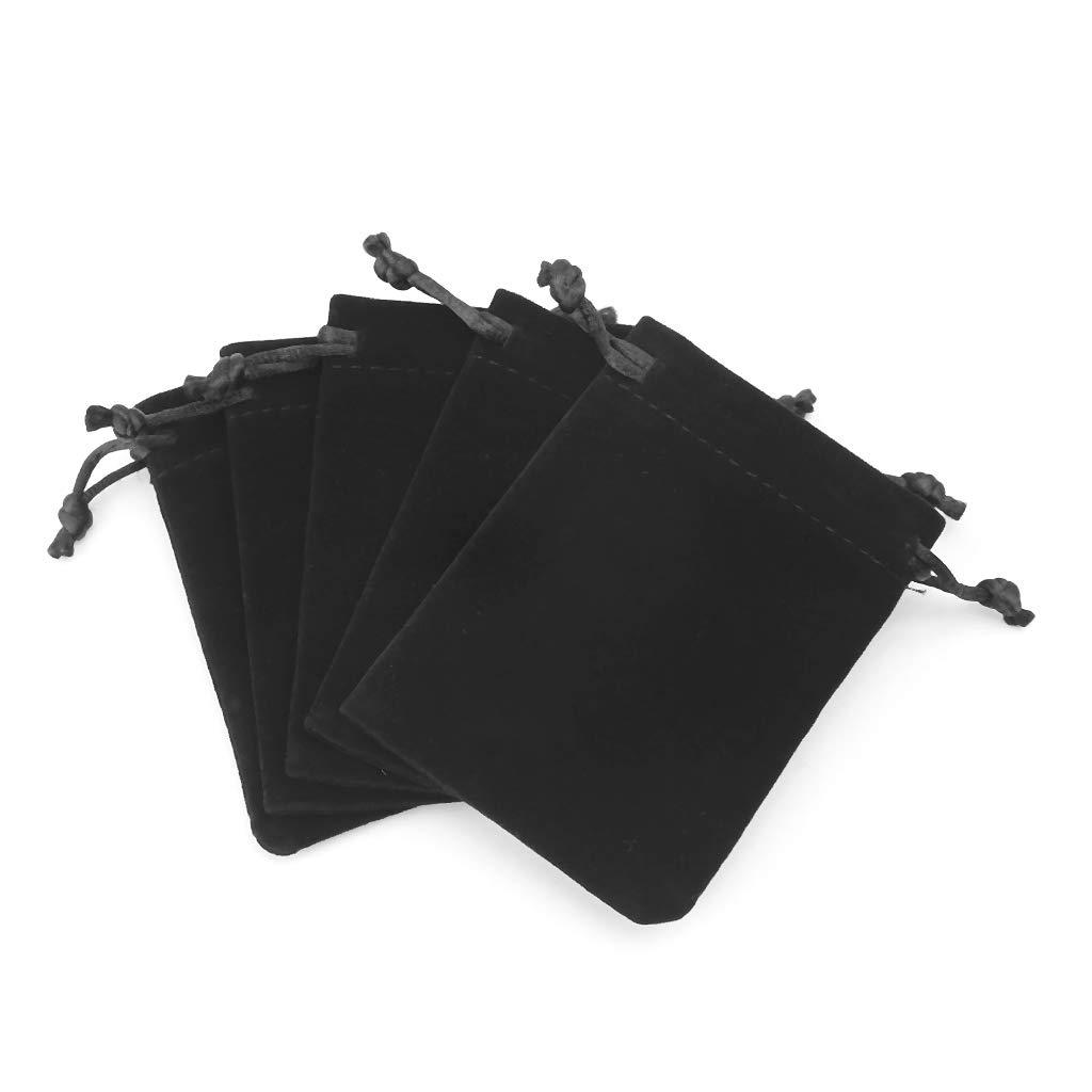 Mukoo 5pcs 9cm × 7cm Dungeons and Dragons Dice Bag Velvet Drawstring Bags Tarot Card Jewelry Bag - Black, Red, Gray