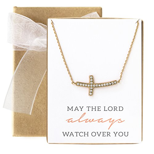 Gold Confirmation Cross - AMY O Sideways Cross Necklace in Gold, Religious Gift