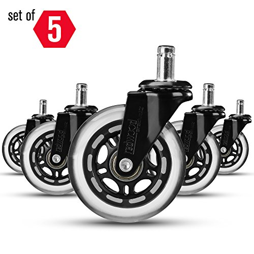 Rollerblade Office Chair Caster Wheels Replacement (Set of 5) - Safe & Smooth Rolling over All Floors (Hardwood, Carpet, Tile) - Non Marking or Scratching Soft Polyurethane Wheels - UNIVERSAL FIT