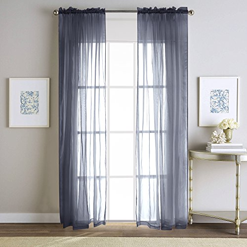 FlamingoP Solid Sheer Voild Window Curtains, Back Tab/Rod Pocket, W40 inch X L63 inch, Gray (Set of 2 Panels)