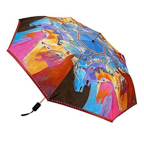 Laurel Burch Horses - Wild Horses of Fire Compact Folding Umbrella