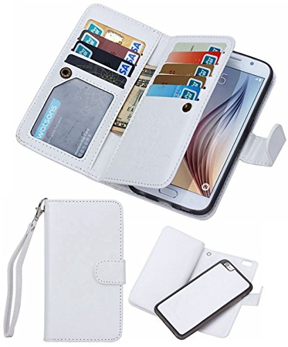 Valentoria Mother's Day Deals Gifts-iPhone 8 Wallet case,iPhone 7 Wallet Case, Premium Vintage Leather Wallet Case Magnetic Detachable Slim Back Cover Card Holder Slot Wrist Strap(iPhone 7, White)