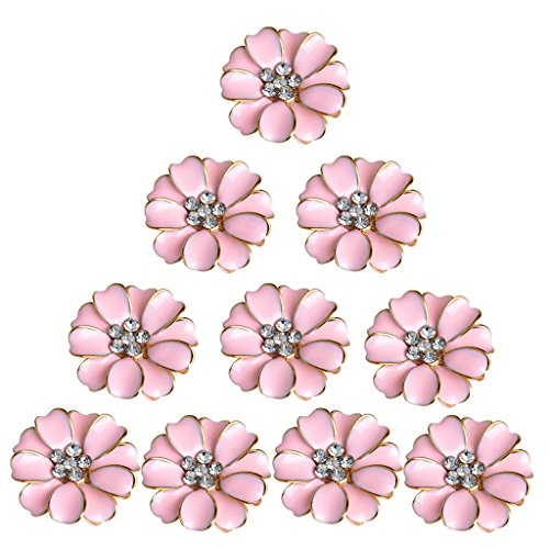 MagiDeal 10 Pieces Metal Crystal Rhinestone Buttons Flower Flatback Wedding Embellishments - Pink ()