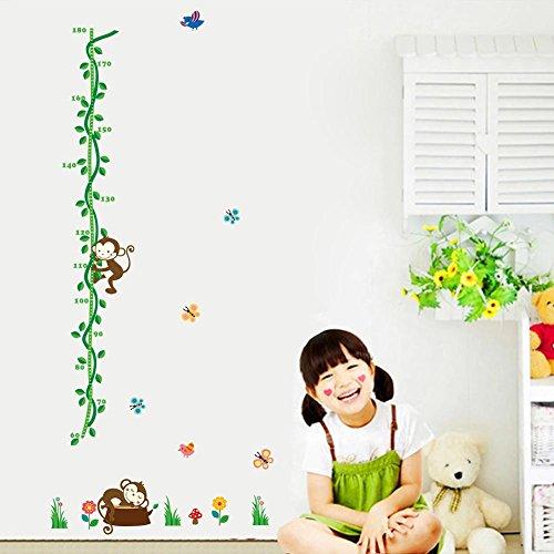BIBITIME Green Vines Monkey Growth Chart Wall Decal Birds Butterfly Flower Mushroom Vinyl Art Sticker for Bedroom Nursery Height Measurement,25.98