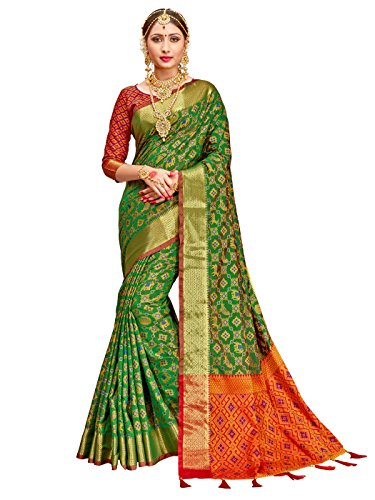 Women Patola Art Silk Woven Work Saree l Indian Wedding Ethnic Sari & Blouse Piece (Green 1) ()