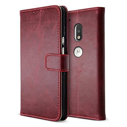 B BELK Motorola Moto G4 Plus Case, Retro Vintage Leather Wallet Case for Motorola Moto G4 Plus, Classical Manetical Snap Folio Flip Card Cover for Moto G 4th Gen (5.5 Inch), Dark Red (Hard Case Satin Clutch)