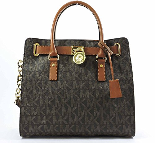 Michael Kors Womens Textured Signature Tote Handbag Brown Large