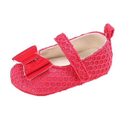 Zapatos de bebé Auxma Zapatos para niños pequeños,Zapatos lindos suaves del algodón del Bowknot de la niña Para 0-18 mes Rojo
