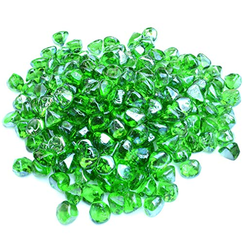 Stanbroil 10-Pound 1/2 Inch Fire Glass Diamonds for Fireplace Fire Pit, Emerald Green Luster