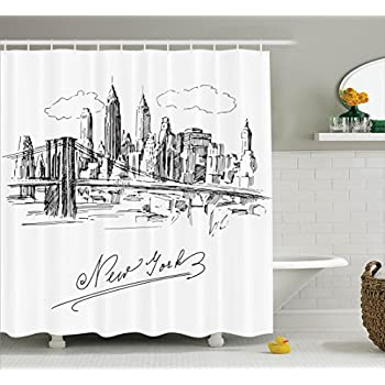 Ambesonne NYC Decor Collection New York Contemporary Business Metropolis Corporate Town Monochromic Sketch Polyester Fabric Bathroom Shower Curtain