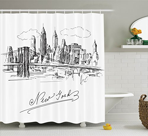 Ambesonne NYC Decor Collection, New York Contemporary Business Metropolis Corporate Town monochromic Sketch , Polyester Fabric Bathroom Shower Curtain, 75 Inches Long, Black White