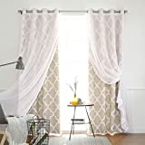 Cheap Best Home Fashion uMIXm Voile Sheer and Room Darkening Moroccan Print 4 Piece Curtain Set – Grommet Top – Beige – 52″ W x 84″ L – (2 Curtains and 2 Sheer curtains)