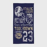 One Side Printing Hotel SPA Beach Pool Bath Hand Towel,Sports Retro American Football College Illustration Athletic Championship Apparel Decorative Purple White Yellow,for Kids Teens and Adults