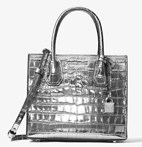 MICHAEL Michael Kors Women's Medium Mercer Messenger Bag, Gunmetal, One (Embossed Messenger Bag)