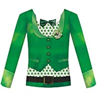 Amscan Women's St. Patrick's Day Bowtie Long Sleeve Dye Sub Shirt (1 Piece), Green, Small/Medium
