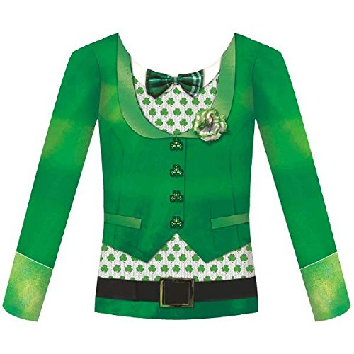 Amscan Women's St. Patrick's Day Bowtie Long Sleeve Dye Sub Shirt (1 Piece), Green, (St Patrick's Day Ties)