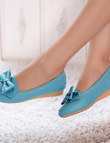zapatos Beige sintética de punta cn34 rosa PDX de pink uk3 negro eu35 Flats plano Casual mujer us5 redonda azul talón piel 1w5Z4qn
