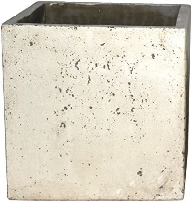 Happy Planter Cube Natural Cement Fiber Planter, Size – 5 x 5, Color – White