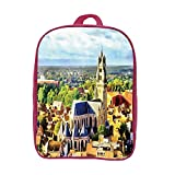 iPrint Children's Backpacks Schoolbag Strong Durability,Medieval Decor,Aerial Photo of Old Medieval Church and Gothic Town Middle Age Renaissance Europe Building,Multi,Graph Customization Design.