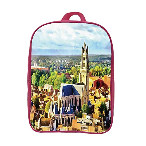iPrint Children's Backpacks Schoolbag Strong Durability,Medieval Decor,Aerial Photo of Old Medieval Church and Gothic Town Middle Age Renaissance Europe Building,Multi,Graph Customization Design. by iPrint