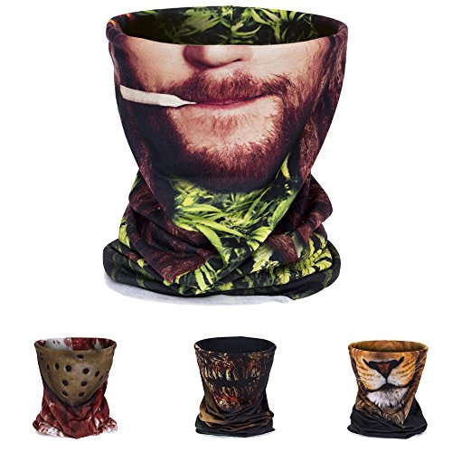 3D Printing Dust Mask bandana,Neck Tube Motorcycle Bandana Neck Gaiter Thin Ski Mask Multifunctional Headwear Ear Warmer Headband Headwrap(rasta (Rasta Face)