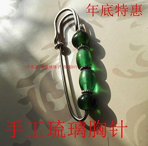 # 5 China Wind brooch pin brooch sweater original green handmade glass (Glass Green Brooch)