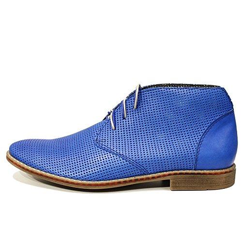 PeppeShoes Modello Sisto - Cuero Italiano Hecho A Mano Hombre Piel Azul Chukka Botas Botines - Cuero Cuero Suave - Encaje