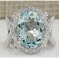 khamchanot Gorgeous 925 Silver 6.72CT Aquamarine Ring Wedding Engagement Jewelry Size 6-12 (8)