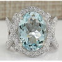 khamchanot Gorgeous 925 Silver 6.72CT Aquamarine Ring Wedding Engagement Jewelry Size 6-12 (10)