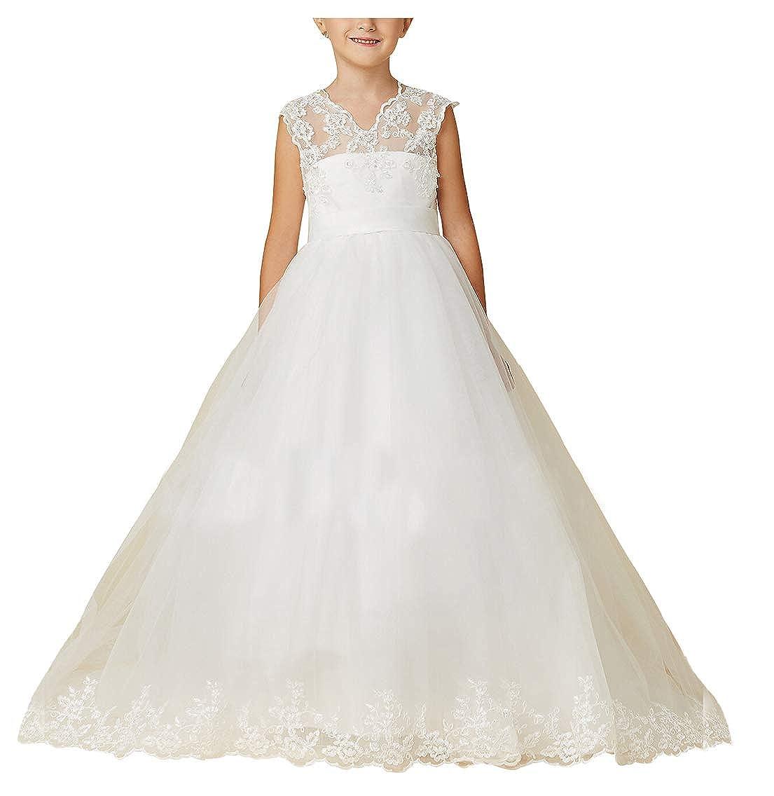 Amazon.com: Vestido de Primera Comunión Tulle V Cuello ...