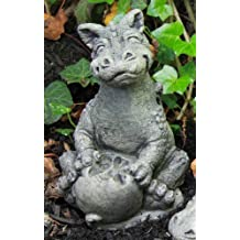 Little Darling Dragon Baby 'Eating Apple' - Solid Cast Stone Garden Statue - a Great Home or Garden Idea - Durable, Lifelike Sculpture - Fun Exterior and Interior Art