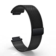 Feicuan 15mm Replacement Watch Bracelet Magnetic Loop Clasp Stainless Steel Wrist Strap for Garmin Approach S6 S20 -Black