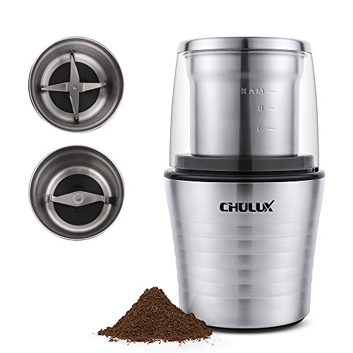 Electric Spice Mill - CHULUX Electric Spices and Coffee Grinder with 2.5 Ounce Two Detachable Cups for Wet/Dry Food,Powerful Stainless Steel Blades and Cleaning Brush