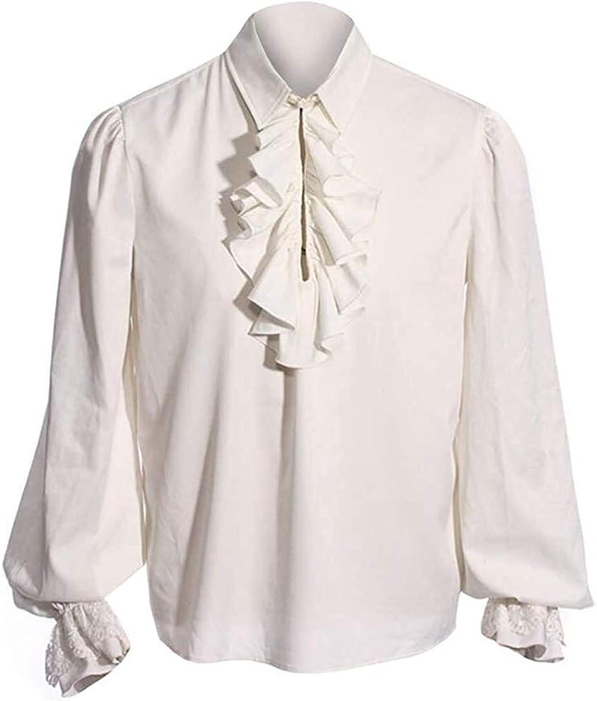 Ericcay Camisa Del Traje Camisa De Los Hombre Camisa Gótica Medieval Hombre Schnürhemd Fisher Ideal Cosplay Con Ropa De Textura Para Juego De Tronos (Color : G-White, One Size : XXL)