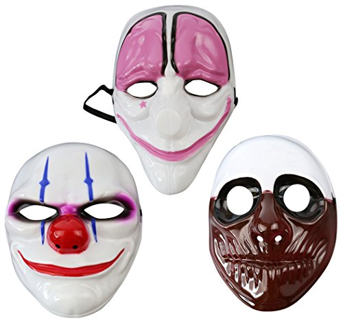 Skull Mardi Gras Scary Mask (Outgeek 2017 Halloween Mask 3 Pcs Clown Mask Creepy Novelty Mask Deluxe Mask Prop mask Masquerade Mask For Costume Halloween Party Mardi Gras Party Women Men)