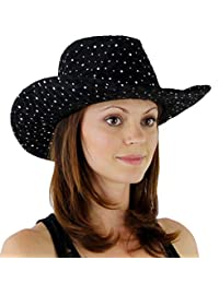 Glitter Sequin Trim Cowboy Hat, Black
